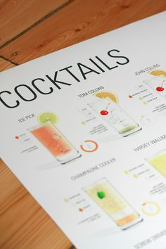 a poster that shows the 34 most common cocktails with their ingredients.