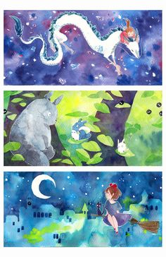 I drew these watercolours for bookmarks to be printed for next year's conventions! They will be prism cards. But since Otakuthon is coming up and I'm out of time, I'm compiling them into a print or...