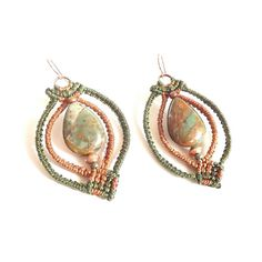 Earthy Macrame Earrings with African Green Opal by neferknots, $70.00