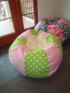 SPECIAL Listing For VICTORIA Pink And Green Polka Dot Bean Bag Chair With Cream Chenille Top Bottom
