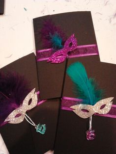 Masquerade invitations Purple & Turquoise. DIY super easy yet beautiful. I purchased the black covers from cardsandpockets.com