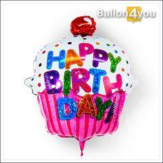 """Happy Birthday Cupcake  100 % Freude, bei 0 Kalorien! An diesem süßen Kunstwerk kann man sich gar nicht satt sehen. Liebevoll verziert und mit einem bunten """"Happy Birthday"""" dekoriert, ist dieser Ballon ein echtes Highlight auf jeder Geburtstagsparty."""