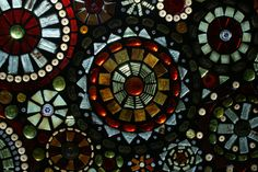 mosaic stained glass on old windows   Glass on Glass Mosaic Window Art by lowlightcreations on Etsy