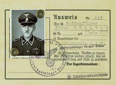 CAVEAT: This is a fake, unsigned Bergen-Belsen identification card in unlikely pristine condition—with the rank insignia altered on the ID photo—for a purported SS-Rottenführer named Klaus Richter, sold at auction. The faker used a genuine image from the German Bundesarchiv, file number 192-035, where original records indicate that it was of an unknown SS-man with Scharführer rank insignia, who served as a guard at the Mauthausen concentration camp.
