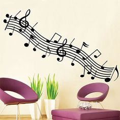Wall Stickers Wall Decals,Solid Black Notes PVC Wall Stickers #03678339