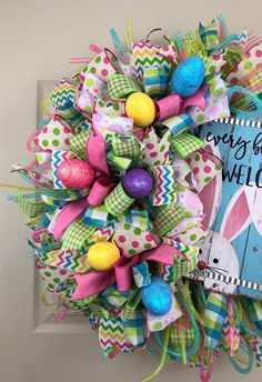Easter Wreath for Front Door, Easter Wreath, Bunny Wreath, Carrot Wreath, Spring Wreath, Porch Decor, Outdoor Wreath This wreath has tons of Spring colors and cute bunny sign to welcome any guest. Wreath measure 24 by 24 by 10 deep All of my wreaths are handmade by me with