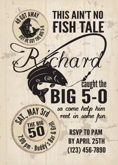 """This Ain't No Fish Tale Birthday Invitation and 1.5"""" envelope sticker"""