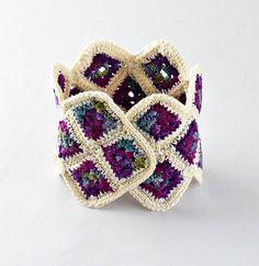 Crochet Granny Square Cuff Bracelet Blueberry by Nothingbutstring, $40.00
