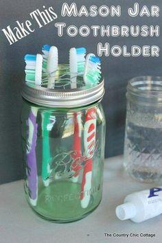Chicken wire + mason jar = toothbrush holder!