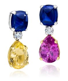 Cellini Jewelers Sugarloaf Sapphire drops, with pear shapes pink and yellow sapphires. Set in Platinum and 18k Yellow Gold.