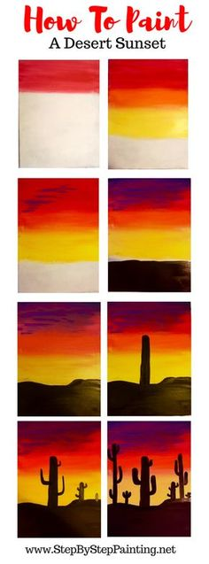 How to paint a cactus silhouette sunset - step by step instructions . - How to paint a cactus silhouette sunset – step by step instructions on acrylic painting, - Cute Canvas Paintings, Easy Canvas Painting, Simple Acrylic Paintings, Acrylic Painting Tutorials, Painting Techniques, Diy Painting, Painting & Drawing, Canvas Art, Sunset Painting Easy
