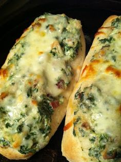 Review by Lyndee: 2 loaf Pillsbury French crusty bread 1 pound bacon 1 can diced chicken breast 9 oz green giant spinach (froz...