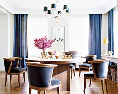 Tour the Ultimate Designer Dream Home// round dining table, Nate Berkus, velvet chairs, linen curtains