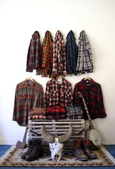 Lumberjack gear, plaid, rustic