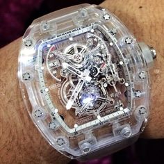 Richard Mille / Quartz carved case to 'clearly' show how complex the movement is from the wrist = ie no need to remove watch to reveal the complexity via glass rear viewing area , here the amazing complexity is immediately apparent by all who see this horology masterpiece worn on the lucky owners wrist ⌚️ - mens gold watch black face, watch store, police watches *ad