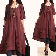 Maxi Dress - Summer Dress in Red- Linen Sundress for Women-Short Sleeved on Etsy, Maxi Dress Summer, Dress Up, Summer Dresses, Shirt Dress, Mori Fashion, Womens Fashion, Moda Casual, Mori Girl, Linen Dresses