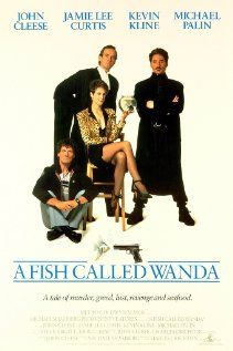 A Fish Called Wanda (1988)  Directed by Charles Crichton.  Starring John Cleese, Jamie Lee Curtis, Kevin Kline, and Michael Palin.  C-c-c-cl-classic, as Ken would say.