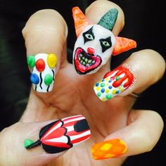 nailkayos's photo on Instagram - Twisty the Clown - American Horror Story Nails - AHS Halloween