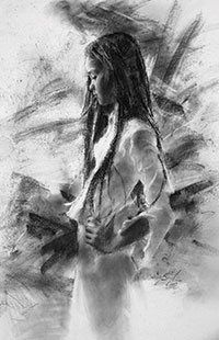 Lana, 2004, charcoal drawing, 24 x 18. Collection John and Penelope Adams.  By Casey Baugh.