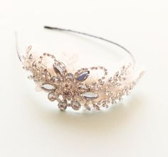 Rhinestone bridal hair band, wedding head piece, 1920s inspired flapper hair band on Etsy, $85.00