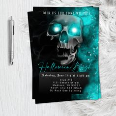 Adult Halloween Party Invitation Bloody Skull scary halloween birthday costume party skull spooky haunted printable or printed invitation Halloween Hash, Adult Halloween Party, Halloween Skull, Scary Halloween, Spooky Scary, Adult Halloween Invitations, Graduation Party Invitations, Photo Invitations, Invitation Design