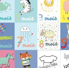 Carte mois après mois bébé. Mois Après Mois, Cartes Illustrées, Cadeau  Naissance, Idées Cadeaux 6fc8fd5c420