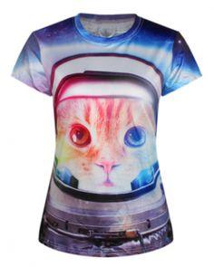 9d5d7c0f8b64 Creative cat 3D t shirt for women personalized short sleeve tee- 3d T Shirts