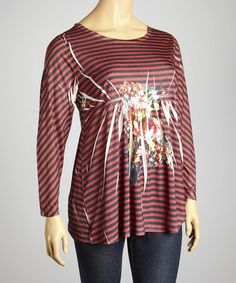 Take a look at this Rust Floral Stripe Scoop Neck Top - Plus by Sienna Rose on #zulily today!