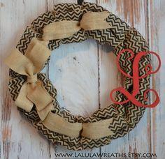 Burlap Monogram Wreath Black Chevron Natural by LalulaWreaths