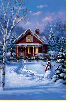 Little Red House and Snowman by Corbert Gauthier