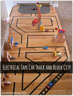 Electrical Tape Car Track and Block City. I'd probly use painters tape as it wouldn't leave as much residue. Craft Activities For Kids, Learning Activities, Games For Kids, Diy For Kids, Baby Learning, Winter Activities, Kindergarten Activities, Spelling Games, Spelling City