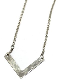 Nordic Winter collection hammered V Necklace - Hamret V smykke www.lissiedesign.no