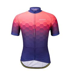 BELLEZIVA Men's Sportswear Cycling Short Sleeve Jersey,Shorts Or A Suit(XL, Blue Jersey)