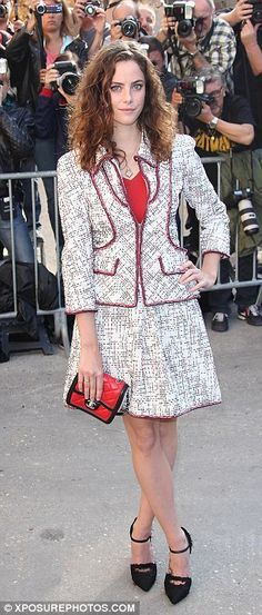 All grown up: Skin star Kaya Scodelario looks chic in a red and white ensemble as she added height with black heels Chanel Runway, Kaya Scodelario, All Grown Up, Gisele Bundchen, Looks Chic, My Heart Is Breaking, Black Heels, Pretty Woman, Supermodels