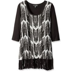 Karen Kane Women's Plus-Size 3/4 Sleeve Fringe Tee ($47) ❤ liked on Polyvore featuring tops, t-shirts, plus size, three quarter sleeve t shirts, womens plus tops, plus size 3/4 sleeve tee, womens plus size t shirts and 3/4 sleeve tops