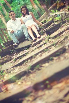 Grávida, parque, casal.