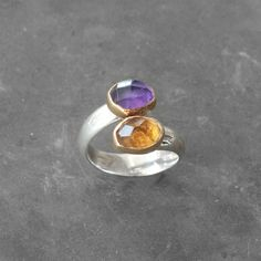 Twist Amethyst and Citrine Gold Statement Ring, Gold and Sterling Silver Handmade Ring, Size 7 Cocktail Ring, Two Birthstone Ring Greek Jewelry, Amber Jewelry, Fine Jewelry, Lava Bracelet, Purple Amethyst, Statement Rings, Solid Gold, Gemstone Rings, Gemstones