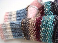Fingerless gloves knit women gloves wool gloves by RainbowMittens