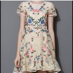 Anthropologie style dress Beautiful floral dress/ anthropologie style. Size small. I'm usually a 2/4 and it was small so I say it would probably fit a 0/2.   Chicwish/ New in bag. PRICE IS FIRM! Dresses