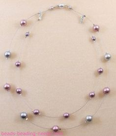 Floating pearl necklace. Make a Pearl Beaded Necklace.