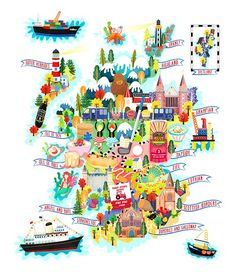 I created this illustrated map of Scotland as an ongoing map project that I have been working on.  Scotland has been my home since the end of 2008 and in that time my husband and I have travelled to many different parts of Scotland.  Most people think of Scotland as haggis, mountains, wet weather and other things but its a really beautiful diverse country.  For this map I have illustrated famous features of many different parts of Scotland. There are the mountains, highland cows, oil rigs…