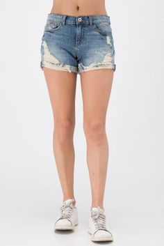 Mid Rise Boyfriend Shorts with Distressing