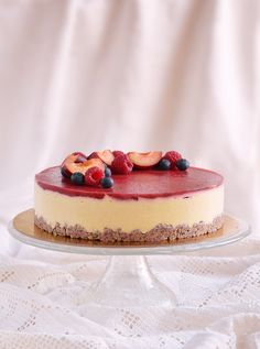 Cukormentes epres vanília mousse torta recept Sugarfree vanilla mousse cake recipe with strawberry jelly