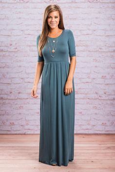 """""""On The Lookout Maxi Dress, Teal"""" Be on the lookout for this fab maxi dress! You WILL NOT want to miss it! The solid color gives a gorgeous blank canvas for styling!  #newarrivals #shopthemint"""