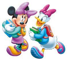 Minnie Mouse and Daisy Duck heading off to school. Mickey Mouse E Amigos, Mickey E Minnie Mouse, Mickey Mouse And Friends, Walt Disney, Disney Mickey, Disney Art, Minnie Mouse Pictures, Mickey Mouse Images, Duck Cartoon