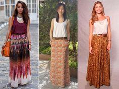 Diversos modelos de saia longa moda 2015 para inspirar você: Aprenda como usar, como combinar e como montar looks com saias longas.