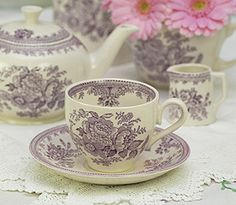 Burleigh China - Stoke On Trent.  I believe this is the Burleigh  Asiatic Pheasants pattern in plum.  Lovely!