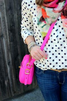 Polka dot top, hot pink bag