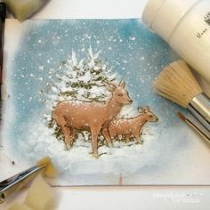 I have colored in the 'Deer in winter forest' design from the new 'Christmas Rose' stamp set, using soft oil pastels. Forest Design, Coloring Tutorial, Christmas Rose, My Stamp, Winter, Deer, Moose Art, Blog, Create