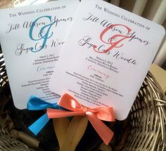 I used these for my wedding and loved them!!! Personalized Wedding Program Fans  Coral and by PinkOrchidInvites, $2.50